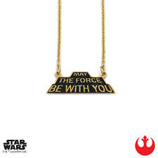 "Han Cholo STAR WARS Gold ""May The Force Be With You"" Necklace 30"" NEW"