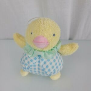 Eden Stuffed Plush Washcloth Terrycloth Duck Blue Gingham Plaid Check No Chime