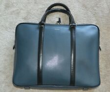 Paul Smith Deep Blue Leather City Embossed Business Folio Laptop Briefcase Bag