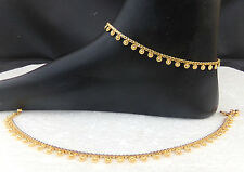 ANKLET BRACELET 22k GOLD PLATED PAYAL SET BOLLYWOOD Fashion INDIAN JEWELRY 2Pc