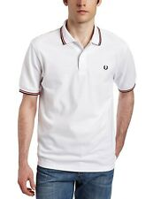 BNWT Fred Perry Men's Twin Tipped Polo Shirt M1200 White/Red/Navy Mod Scooter S