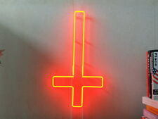 New Upside Down Cross Neon Sign Beer Bar Pub Party Store Room Wall Windows Decor
