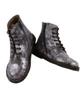 New PePe made in Italy leather silver flower ankle boots girls 29 us 12 12.5