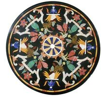 """24""""x24"""" Marble Center Corner Table Top Inlay Gems Marquetry Mosaic Art Decor"""