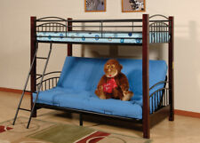 Bunk Bed Futon Metal Black Twin Size Daybed Kids Teens Child Bedroom Bedding New