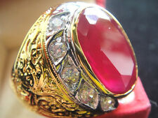 # 12.5 Men Man Gold 24K Ring EAGLE Red RUBY Sapphire CZ Gemstone Thai Solitaire