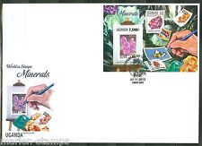 UGANDA 2013 STAMP ON STAMP MOTIF MINERALS  SOUVENIR SHEET  FIRST DAY COVER
