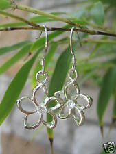 Hawaiian 925 Silver Earrings Cut-Out Plumeria Dangle SE # 28781