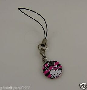 i love Hello Kitty pink black cell phone charm or purse charm cel purse charm