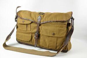 New POLO RALPH LAUREN Leather-Trim Twill Messenger Bag Southwestern Wool Lining