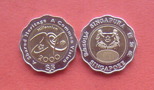 Singapore 2000 Turn of the Millennium 5 Dollars Bi-metallic Coin UNC