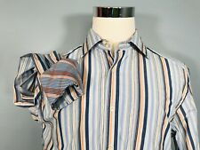 R&G Robert Graham Men's Shirt L Large Striped Contrasting Cuffs Long Sleeve