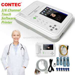 New CONTEC Touch ECG600G EKG Machine Electrocardiograph 6 Channel ECG Monitor+SW