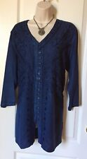 Top Women's Shirt Tunic Top Blouse Top 3/4 Sleeve V Neck Color Blue New Top 1 X