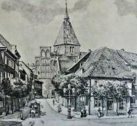 HEINZ WEHLISCH (2.H.XX) -schöne Radierung 1980: DIE STADT MÖLLN UM 1810