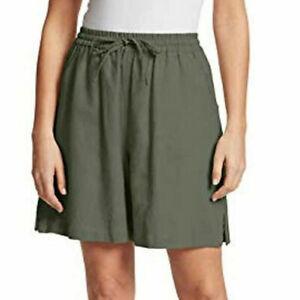 Gloria Vanderbilt Women's Linen Blend Elastic Waist Shorts Size S Eucalyptus