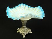 Antique Victorian Art Glass Brides basket Bowl/Stand/center-piece silver-plated