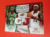 LEBRON JAMES KEVIN GARNETT 2 GAME USED JERSEY CARD 2009-10 DUAL MATERIALS LAKERS