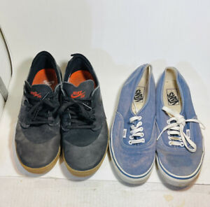 Vans & Nike Skate Black & Blue Men's 9.5 Well Worn Shoe Lot Used