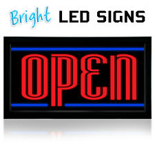 """Open Led Light box sign- 12""""x 24""""- New Bright Led Sign-Blue- Store Sign Neon"""