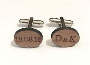Personalised Wedding Shirt Cufflinks In Wood Engraved With Two Initials And Date