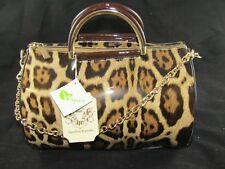 HANDBAG REPUBLIC Brown Patent Leather Leopard Print Round Barrel Handbag NWT