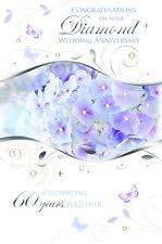 WONDERFUL COLOURFUL ON YOUR DIAMOND 60TH WEDDING ANNIVERSARY GREETING CARD