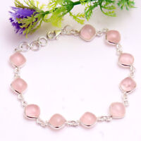 Rose Quartz Gemstone 925 Sterling Silver Statement Handmade Solid Bracelet 7.5""