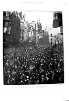 Old Antique Print 1893 Ulster Demonstration Belfast Ireland Donegal Place 19th