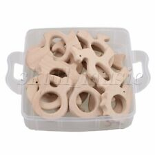 Animals Wooden Rings Baby Teether Teething Toy Unpainted DIY Necklace