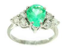 2.43ct Colombian Emerald & Diamond Cluster Ring in 14K White Gold