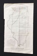"ORIGINAL 1838 MAP DIAGRAM STATE ILLINOIS W.J STONE 26"" X 16"" RARE NORTH BOUNDARY"
