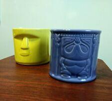 Whalers Rum Tiki Mug Cup Set Yellow Purple Lavender Barware