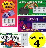 4 PHONY FAKE ALL WINNING SCRATCH OFF LOTTO LOTTERY TICKETS - Fun Gag Joke Prank
