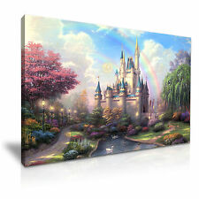 DISNEY CASTLE Bambini Tela WALL ART PICTURE PRINT 76x50cm OFFERTA SPECIALE