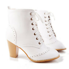 womens brown yellow ankle boots lace-up pu leather high block heels punk boots #