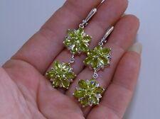 GENUINE! 9.24tcw! Peridot Huggie Cluster Drop Earrings, Sterling Silver 925!.