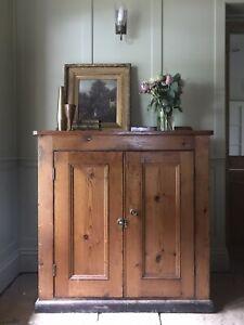 Antique Victorian Pine Large Vestry Cupboard Hall Storage Cupboard Cabinet