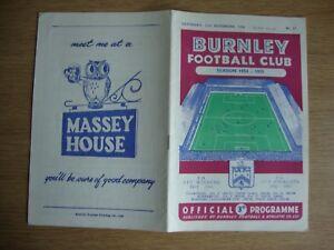 1954/5 Burnley v Aston Villa - League Division 1 - Excellent Condition