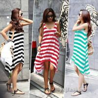 Women Striped Sleeveless Backless Summer Beach Mini Dress Casual Loose Sundress
