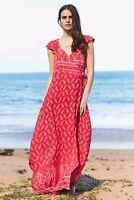Jaase Paisley Red White Bandana Crush Keyhole Back Maxi Wrap Dress XS S M L NWT