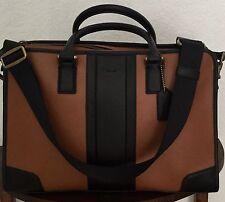COACH 71639 Men's Saddle Black Leather Directors Briefcase Slim Briefcase NWT