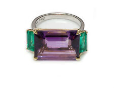 Vintage Amethyst Emerald Platinum & 18K Yellow Gold Ring