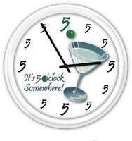 5 o'clock Somewhere Martini Wall Clock - Drinks Cocktail Bar Vodka Party - GIFT
