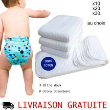 Lot 10 Inserts coton pour couche lavable Changes Bébé réutilisable doux pas cher