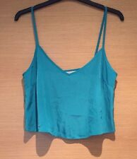 Size 8 Asos Crop Top Vest Strappy Summer Loose Baggy Thin Teal Green Turquoise