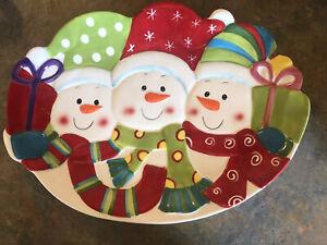 """Christmas 15"""" X  11.5 Winter Snowman  Platter"""