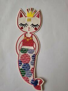 Iron On Patch Motif Mermaid Cat Large Cute 19cm x 7cm Dress Ups Girls Pink