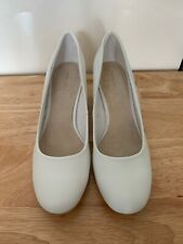 La Redoute leather white low round heel court shoes UK size 5.5 (EU 38.5) new