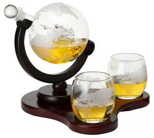 Elegant Whiskey Etched Globe Decanter Set🔥Wedding Father Husband Friend Gift 🔥